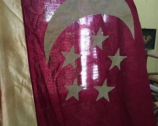 LARGE COTTON ANTIQUE SINGAPORE FLAG