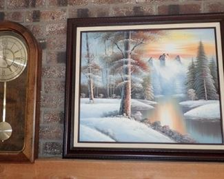 CLOCK AND OIL PAINTING