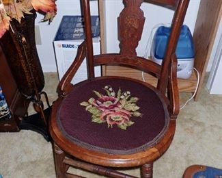 SIDE CHAIR NEEDLE POINT SEAT