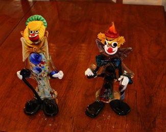 Italian Murano Glass Clowns.