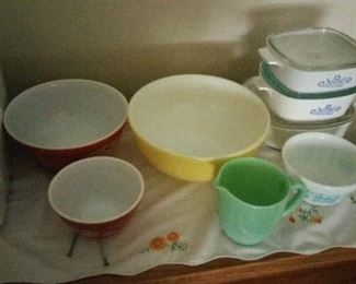 pyrex and corning ware, fireking jadite pitcher. white with turquoise pyrex bowl has been sold