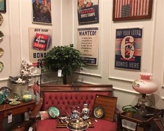 US Flags, Victorian Oak Sofa, Advertising, Gone with the Wind Lamp,