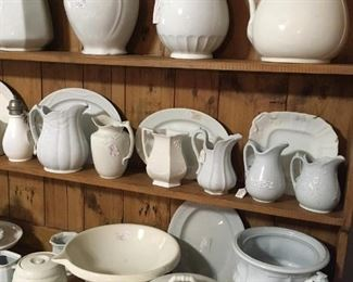 White Ironstone Pitchers, Creamers, Servers