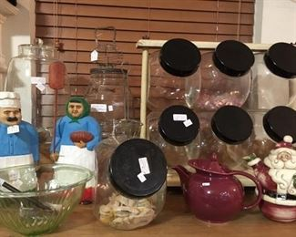Vintage Mixing Bowl, Candy Jars Store Display, Fiesta Teapot, Santa Claus & other Kitchen Decor