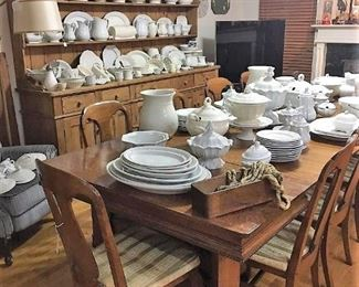 White Ironstone, Massive Victorian Oak Dining Room Table w/ 10 Chairs.