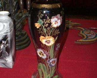 """12"""" enameled Mont Joye art glass vase"""