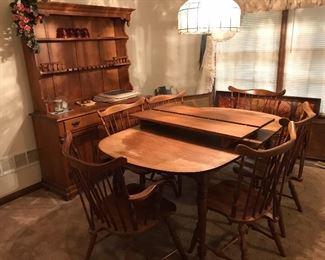 Maple table with two extension leaves, chairs, hutch.  Circa 1960s