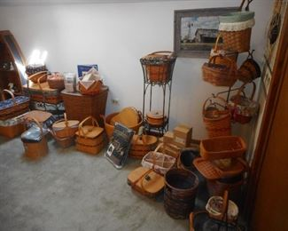 Longaberger Baskets of all sizes, Liners, Plastic Liners, Stands, Shelves