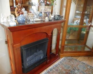 Cherry Wood Faux Fireplace, with Glass Side Shelves, Has Crackling Sound
