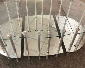 Art Deco Mirrored Table in 3 pieces