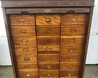 Entirely English Make H.L.L Oak Roll Top Library Cabinet - Amazing