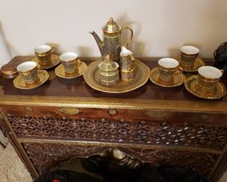 Beautiful Tea Set on Carved Thai Table With Brass Inlay