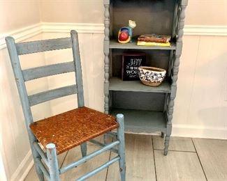 Primitive chair and antique shelf