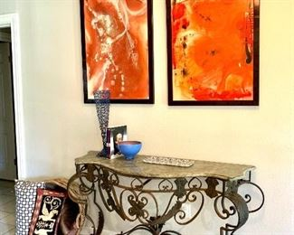 Iron console table with marble top  Bright modern art work