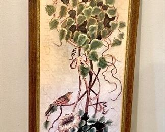 A pair of hand-painted art panels