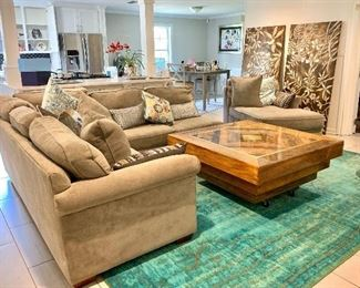 Classic Sectional sofa in good condition   Large pair of art panels