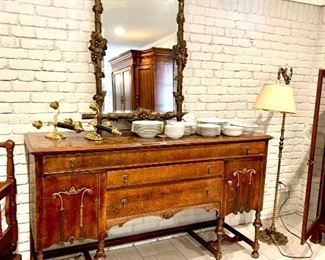 Set of rose china  Carved mirror Antique solid brass lamp