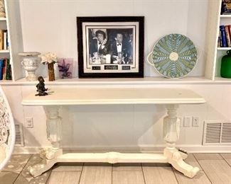Antique shabby chic painted long table  Frank SinatraCool photograph signed