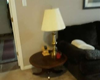 Brass Lamp and end table