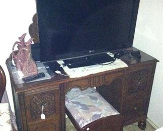 Matching antique dresser, tv