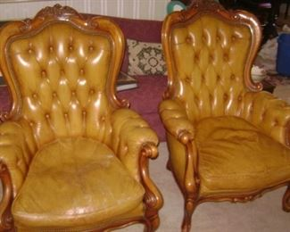 1880--EARLY 1900'S BELGIUM BEACHWOOD PAIR OF SIDE CHAIRS--MUSTARD YELLOW LEATHER--VALUED AT $4400--YOU CAN BUY THEM FORWAY  LESS THAN HALF !