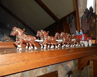 Cast iron Bud wagon and horses...