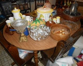 Canisters .... punch bowl....wooden salad set...