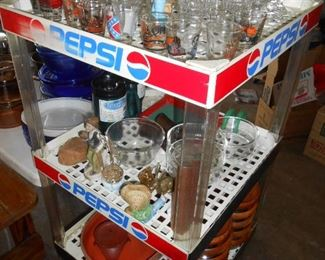 Pepsi shelf.....shot glasses