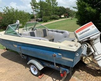 16 foot VIP Tri-hull boat and trailer with walk thru windshield.  70 HP  Johnson outboard.