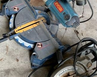 Ryobi cut off saw Black & Decker worm gear drive saw.