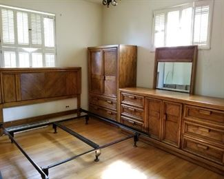 4 piece wood bedroom set and bed frame. excellent condition