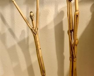 """Carved Bamboo """"Pencil"""" Figures"""