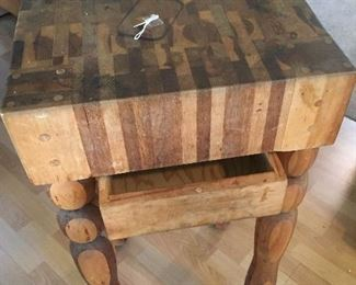 Hand-made Butcher-Block Table with Drawer-very special piece!