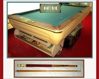 Mid Century Modern All Tec Industries Coin Operated Pool Table with Lots of Pool Equipment
