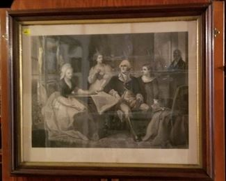 """Original, Authentic  Engraving: WASHINGTON AND HIS  FAMILY dated 1864 BY Wm Sartain. Frame: 26"""" High X 32"""" Wide. Original wave glass."""