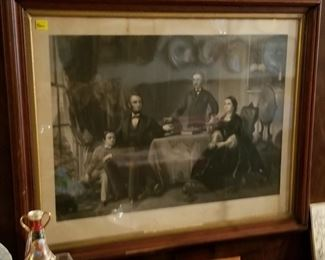"""Original, Authentic  Engraving: LINCOLN AND HIS  FAMILY dated 1866 BY Wm Sartain. Frame: 26"""" High X 32"""" Wide. Original wave glass."""