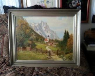 Antique oil painting, German landscape signed: F. Schell