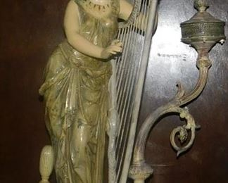 Early 1800's, Lady with Fish Head Harp, Enamel over Silver. Weight: 15 1/2 pounds...