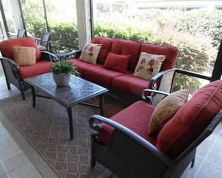 Pre-sale item                                                                                               3 piece all weather wicker set with Sunbrella cushions.