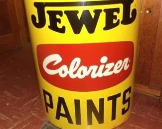 This is a 3 foot stand metal stand-alone demi-lune paint can which would make a great bar; from Campbell Paint in Dearborn