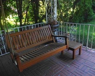 teak swing and table