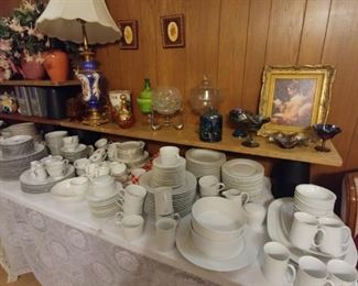 A huge lot of Block Spal Lisboa (Portugal) white dinnerware, service for 15 to 20 and several serving pieces (all not shown). Great for your Farmhouse look.