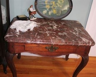 Marble Topped Occasional Table with Drawer