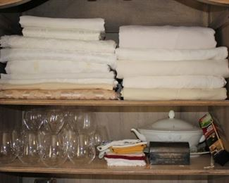 Table Linens and Serving Pieces and Glassware