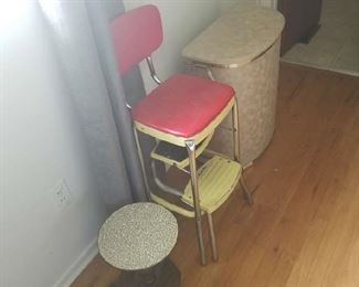 little table, step stool chair, vintage laundry basket