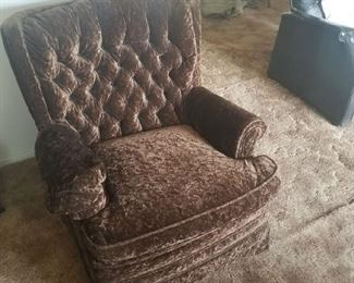 "chocolate ""crushed velvet"" tufted chair."