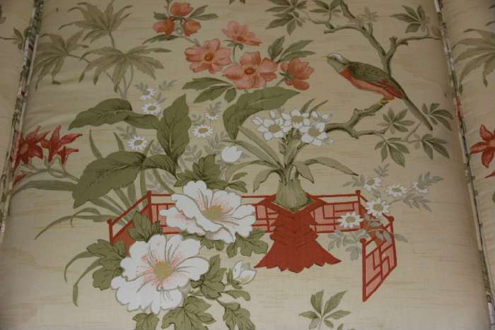 Vintage upholstery w/Asian and bird decor