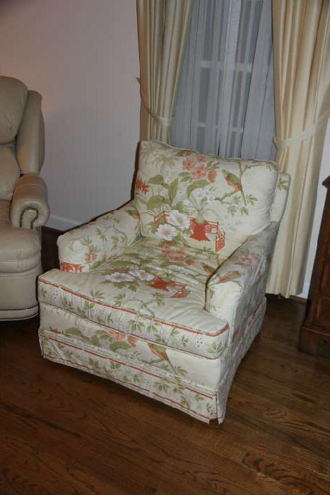 Sweet vintage upholstered chair (we have a sofa in the same fabric) - perfect for a sunroom