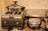 KitchenAid toaster, All-Clad waffle iron, electric skillet, pressure cooker