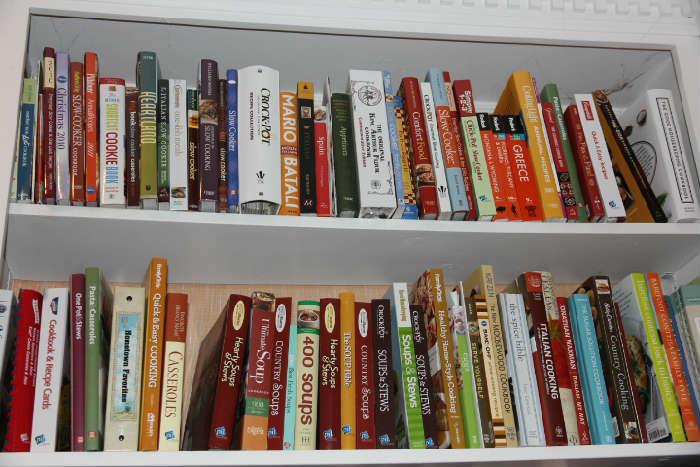 Hundreds of cookbooks in the house